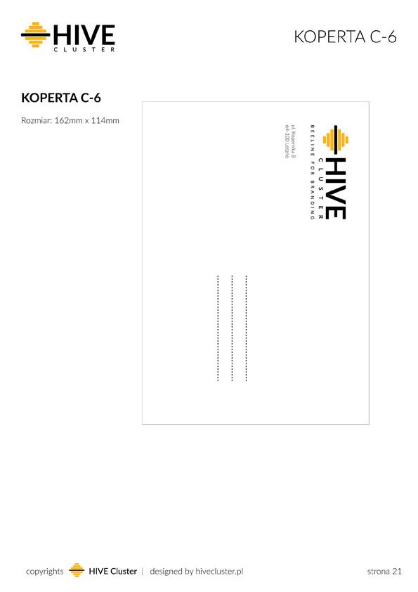 Projekt koperty dla agencji brandingowej Hive Cluster