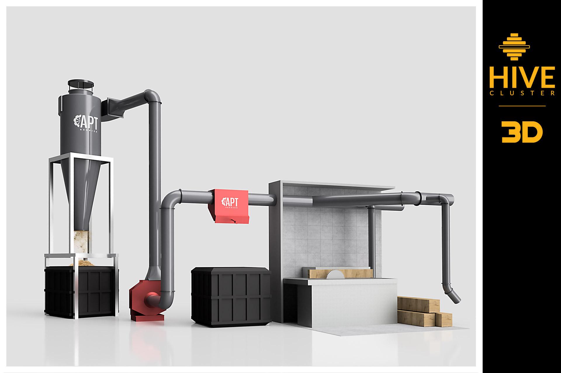 model 3d system odpylania tartaków
